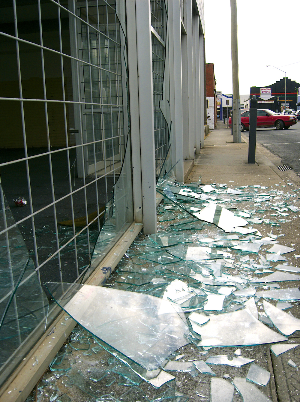 Broken shop window Film in Beverly Hills